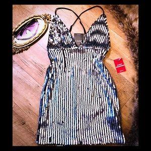 Sequin silver mini cami dress size small